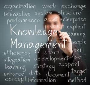 25233155 - business man writing knowledge management concept